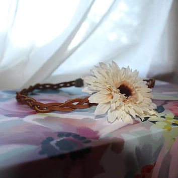 Leather Braided Headband, Hippie Headband, Stretch Headband, Flower headband, Boho Headband, Festival Wear, Indie Headband, Leather Headband