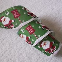 Christmas Ribbon, Santa with North Pole Sign, 2 1/2 In Wide,Wired Edge, 4 YARDS