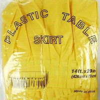 Plastic Table Skirt Adhesive Pleated, 29-inch x 14-ft, Yellow