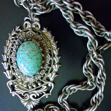 Turquoise Art Glass Germany Necklace-Pendant, Thick Rope Chain, Ornate, Silver Tone, Vintage