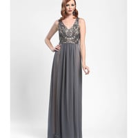 Sue Wong 2014 Dresses - Charcoal Sequin & Chiffon Evening Gown