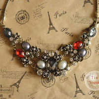 very beautiful antique bronze flower necklace with charming crystals
