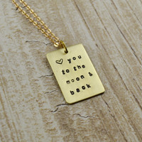 Brass Quote Plate Necklace - To the Moon
