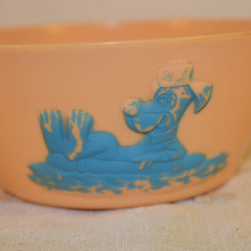 Hanna Barbera Character Bowl Vintage Huckleberry Hound Cartoon Character Plastic Bowl Child's Cereal Bowl 1961 Hanna Barbera Productions