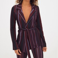 Burgundy Striped Belted Blazer