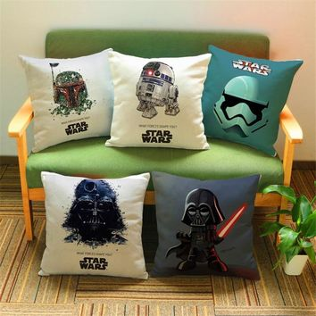 Star Wars Force Episode 1 2 3 4 5 Fashion Cartoon  Printed Cushion Cover Sofa Throw Pillow Cover Case Chair Car Home Living Room Decoration Gift AT_72_6