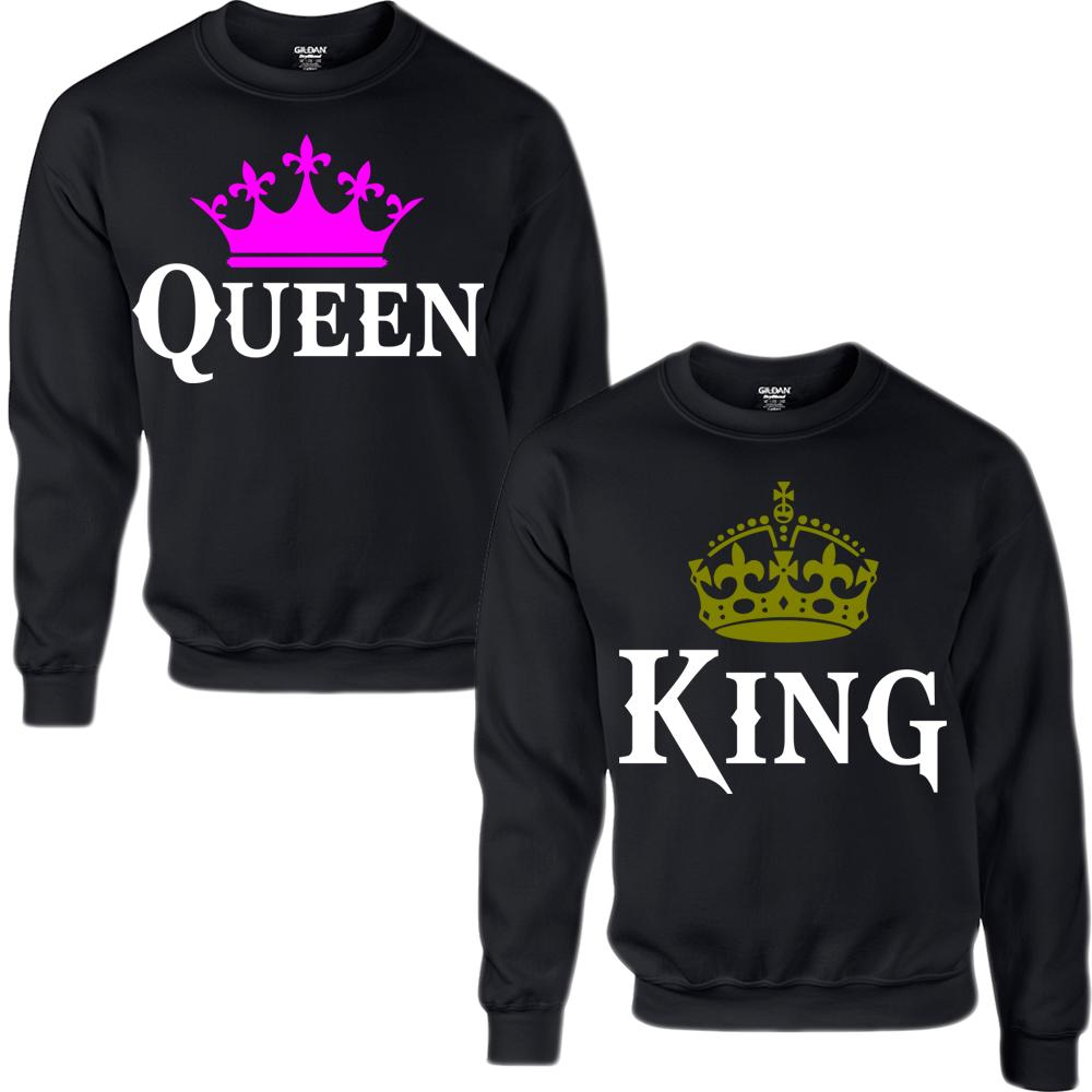 king and queen couple crewneck sweatshirt from teee shop. Black Bedroom Furniture Sets. Home Design Ideas