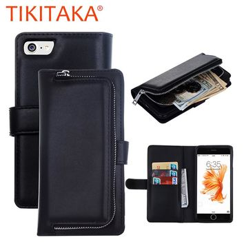 Luxury Leather Flip For Iphone 7 6 6s Plus Cover Multifunction Removable Wallet Case With Card Slots Stand Holder Phone Pouch