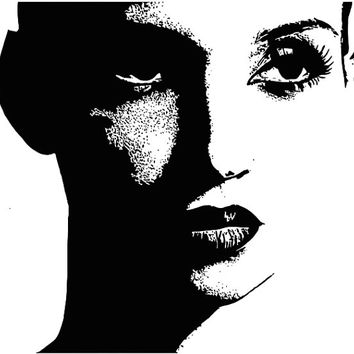modern womans face eyes lips Digital graphics Image Download to make Pillows Totes Towels t-shirts CARDS ETC