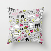 Computers and Social Media Throw Pillow by Elizabeth Andersson