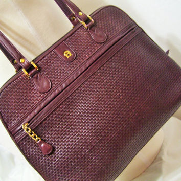 Genuine Unique Woven Leather Etienne Aigner Large Handbag Purse Shoulder Bag Classic Burgundy Color