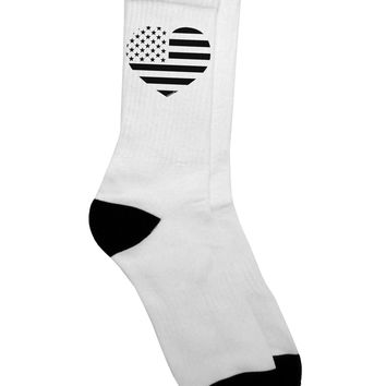 American Flag Heart Design - Stamp Style Adult Crew Socks  by TooLoud