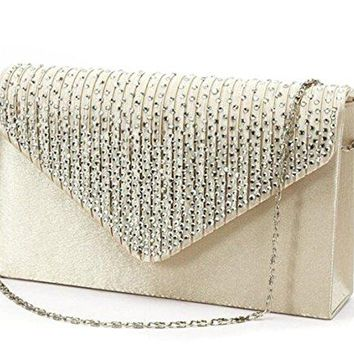 UStory Womens Rhinestone Satin Frosted Evening Wedding Clutch Bag Handbag Purse