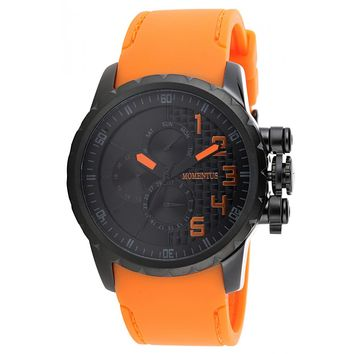 Momentus FS118T-04RB Men's Functional Sport Black Dial Quartz Orange Rubber Strap Watch