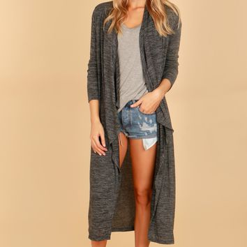 Draping Duster Cardigan Charcoal