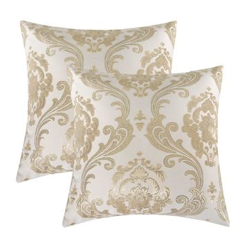 Gold Jacquard Decorative Throw Pillow