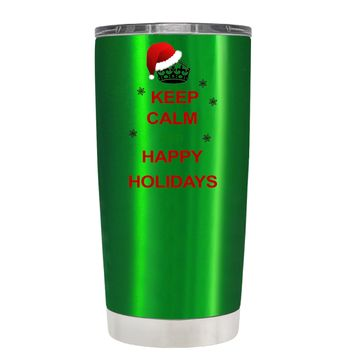 TREK Keep Calm and Happy Holidays on Translucent Green 20 oz Tumbler Cup