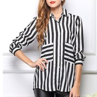 CrazyPomelo Black & White Stripe Long-Sleeved Chiffon Blouse - L