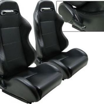 2 BLACK PVC LEATHER RACING SEATS RECLINABLE W/ SLIDER NEW