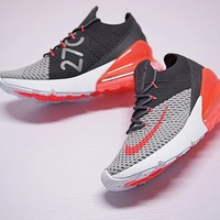 "Nike Air 270 Flyknit Running Shoes ""Drak Grey Orange""AO1023-202"
