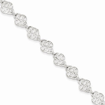 Sterling Silver 9inch Fancy Anklet