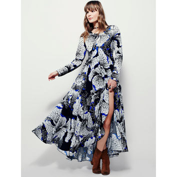 Long Sleeve Floral Print Split Maxi Dress