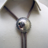 1980s Chromed Silver Conch Style Bolo Tie