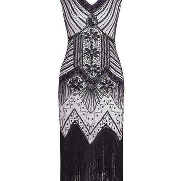 VONEG4S Vijiv Women 1920s Gastby Sequin Art Nouveau Embellished Fringed Flapper Dress