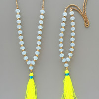 Yellow Neon Beaded Tassel Necklace