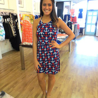 The Buzz Boutique — American Anchors Dress In Red, White and Blue Print