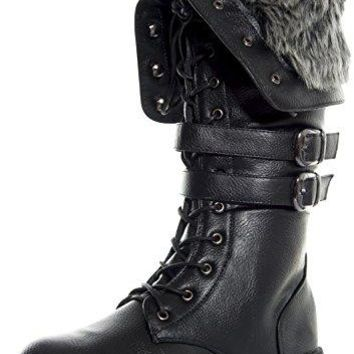 Women's Shanghai Military Combat Lace Up Winter Boots