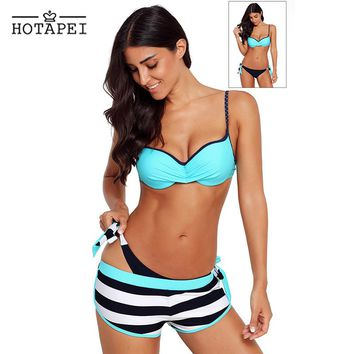 Hotapei sexy Bikinis Three-piece suit Bathing Suit Blue Wrinkled Bra Striped Bikini Bottom Swimsuit LC41720 women New biquini XL
