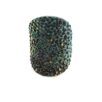 "1.25"" patina textured boho stretch ring free size cocktail"