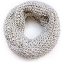 Beige Winter Women Warm Infinity 2 Circle Cable Knit Cowl Neck Long Scarf Shawl