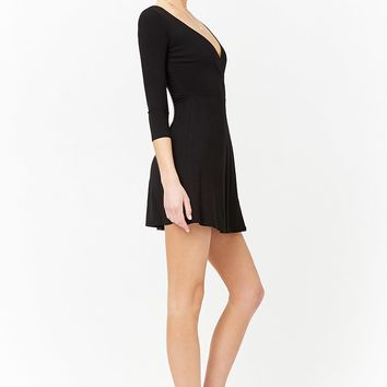 Ribbed Knit Mock Wrap Dress