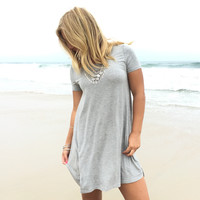 Titanium Jersey Shift Dress In Grey