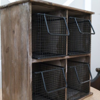 Storage Cabinet with Baskets, Wood Hanging Shelves, Kitchen Office Bathroom Storage Display Compartment,  FREE US Shipping