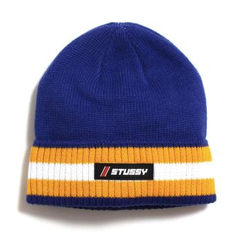 Striped Cuff Beanie Blue