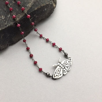 Silver Moth Choker, Red Ruby 14 Inch Choker Necklace, Insect Pendant, Boho Jewelry, Spirit Animal Totem, July Birthstone, Gifts for Women