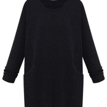 Fall/Winter Cotton Fleece Round Neck Thick Fleece Princess Midi Shift Dress