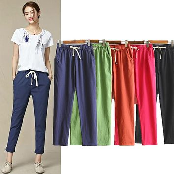 Womens Autumn/Summer Harem Pants Cotton Linen Solid Elastic waist Candy Colors Harem Trousers Soft high quality for Female ladys