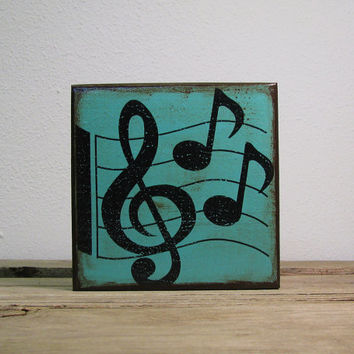 Music Notes Painted Wood Art Block--MatchBlox Mix and Match Art Blocks-1755