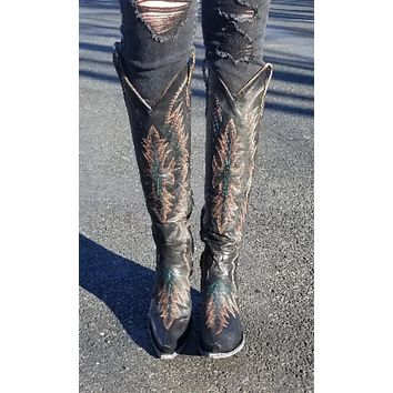 Old Gringo Moreen Tall Boot~ Black~ Exclusive Cowgirl Kim Stitching Design