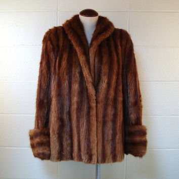 Fur Coat Vintage 1950s Brown Pappa Furs