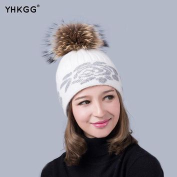2016 Rhinestone Fur Hats For Women Winter.knitted Knit Beanie Hat Wool Acrylic Earflap Cap.super Nature Fur Hat Fur Ball