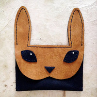 Handmade Leather navy and tan bunny rabbit wallet card case