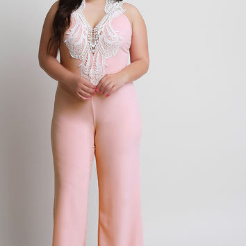 Plus Size Crochet Patch Detailed Jumpsuit | UrbanOG
