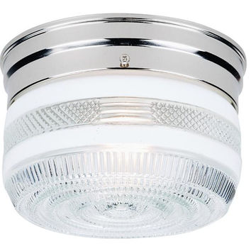 One-Light Indoor Flush-Mount Ceiling Fixture, Chrome Finish with White and Clear Glass