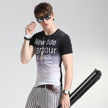 Short Sleeve Print Cotton Men's Fashion Men's Round-neck Casual Summer T-shirts = 6450237187