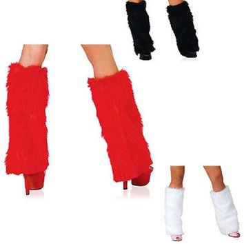 New White red black  Ladies Leg Warmers Ankle Covers Sexy Women Faux Fur Wear to Match Christmas Costume free shipping